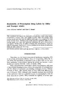 Readability of prescription drug labels by older and younger adults