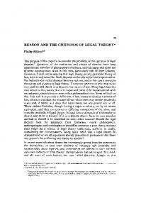 Reason and the criticism of legal theory