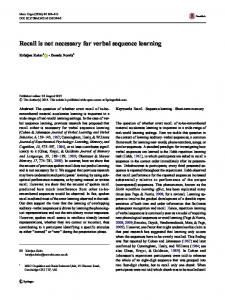 Recall is not necessary for verbal sequence learning