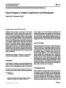Rectal Prolapse in Children: Significance and Management