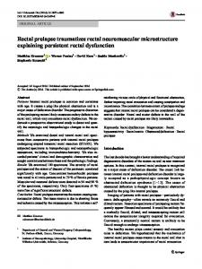 Rectal prolapse traumatizes rectal neuromuscular microstructure explaining persistent rectal dysfunction