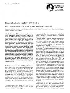 Recurrent adhesive small bowel obstruction