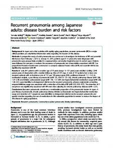 Recurrent pneumonia among Japanese adults: disease burden and risk factors