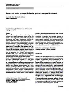 Recurrent rectal prolapse following primary surgical treatment