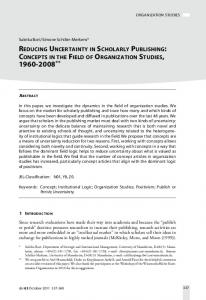 Reducing Uncertainty in Scholarly Publishing: Concepts in the Field of Organization Studies, 1960–2008