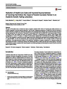 Reduction of Health Care Costs and Improved Appropriateness of Incoming Test Orders: the Impact of Genetic Counselor Review in an Academic Genetic Testing Laboratory