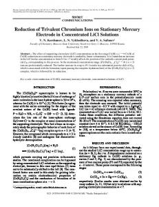 Reduction of Trivalent Chromium Ions on Stationary Mercury Electrode in Concentrated LiCl Solutions
