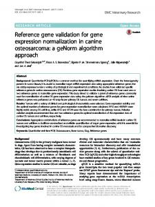 Reference gene validation for gene expression normalization in canine osteosarcoma: a geNorm algorithm approach