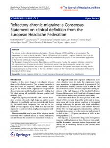 Refractory chronic migraine: a Consensus Statement on clinical definition from the European Headache Federation