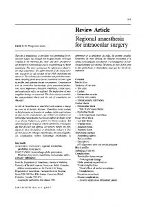Regional anaesthesia for intraocular surgery