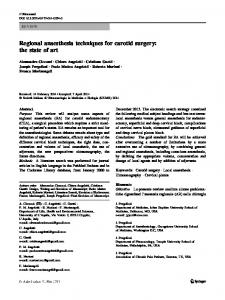 Regional anaesthesia techniques for carotid surgery: the state of art