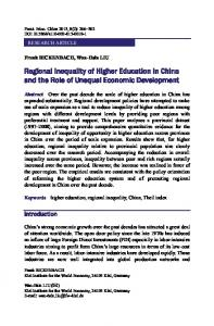 Regional Inequality of Higher Education in China and the Role of Unequal Economic Development