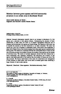 Relation between green spaces and bird community structure in an urban area in Southeast Brazil