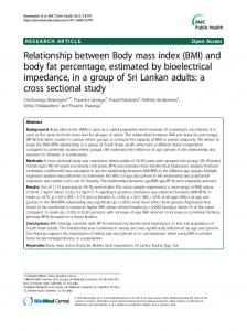Relationship between Body mass index (BMI) and body fat percentage, estimated by bioelectrical impedance, in a group of Sri Lankan adults: a cross sectional study