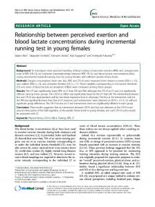 Relationship between perceived exertion and blood lactate concentrations during incremental running test in young females