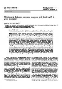 Relationship between promoter sequence and its strength in gene expression