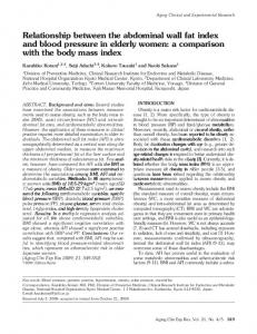 Relationship between the abdominal wall fat index and blood pressure in elderly women: a comparison with the body mass index