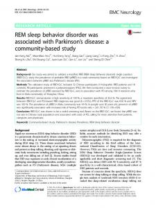 REM sleep behavior disorder was associated with Parkinson's disease: a community-based study