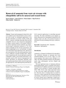 Removal of ammonia from waste air streams with clinoptilolite tuff in its natural and treated forms