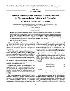 Removal of heavy metal ions from aqueous solutions by electrocoagulation using Al and Fe anodes