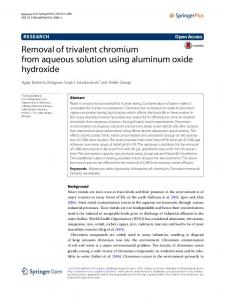 Removal of trivalent chromium from aqueous solution using aluminum oxide hydroxide