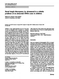 Renal length discrepancy by ultrasound is a reliable predictor of an abnormal DMSA scan in children