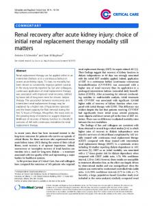 Renal recovery after acute kidney injury: choice of initial renal replacement therapy modality still matters