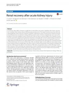 Renal recovery after acute kidney injury