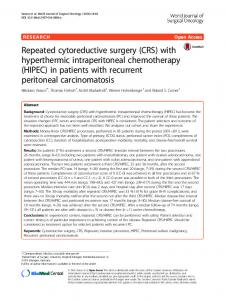 Repeated cytoreductive surgery (CRS) with hyperthermic intraperitoneal chemotherapy (HIPEC) in patients with recurrent peritoneal carcinomatosis