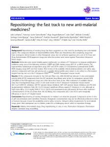Repositioning: the fast track to new anti-malarial medicines?