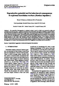 Reproductive potential and its behavioural consequences in orphaned bumblebee workers (Bombus impatiens)