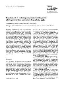 Requirement of chelating compounds for the growth of Corynebacterium glutamicum in synthetic media