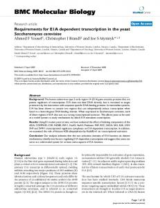Requirements for E1A dependent transcription in the yeast Saccharomyces cerevisiae