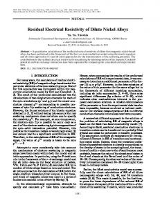 Residual electrical resistivity of dilute nickel alloys