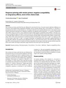 Response priming with motion primes: negative compatibility or congruency effects, even in free-choice trials