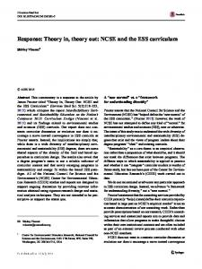 Response: Theory in, theory out: NCSE and the ESS curriculum