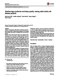 Restless legs syndrome and sleep quality among adult sickle cell disease patients