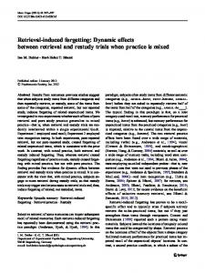 Retrieval-induced forgetting: Dynamic effects between retrieval and restudy trials when practice is mixed