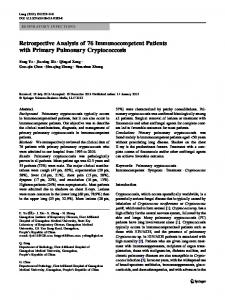 Retrospective Analysis of 76 Immunocompetent Patients with Primary Pulmonary Cryptococcosis