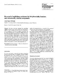 Reversal of multidrug resistance by bis(phenylalkyl)amines and structurally related compounds