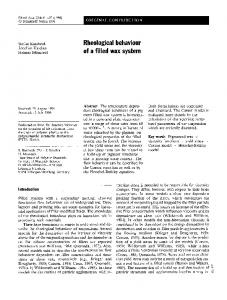 Rheological behaviour of a filled wax system