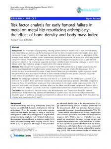 Risk factor analysis for early femoral failure in metal-on-metal hip resurfacing arthroplasty: the effect of bone density and body mass index