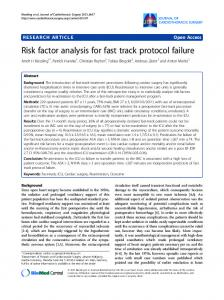 Risk factor analysis for fast track protocol failure