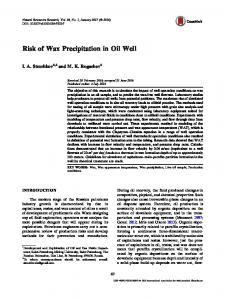 Risk of Wax Precipitation in Oil Well