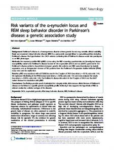 Risk variants of the α-synuclein locus and REM sleep behavior disorder in Parkinson's disease: a genetic association study