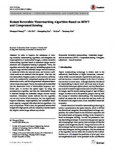 Robust Reversible Watermarking Algorithm Based on RIWT and Compressed Sensing