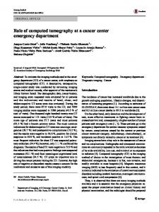 Role of computed tomography at a cancer center emergency department