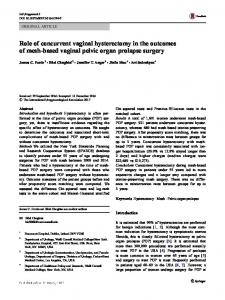 Role of concurrent vaginal hysterectomy in the outcomes of mesh-based vaginal pelvic organ prolapse surgery