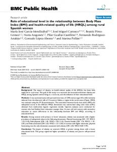Role of educational level in the relationship between Body Mass Index (BMI) and health-related quality of life (HRQL) among rural Spanish women