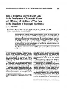 Role of epidermal growth factor gene in the development of pancreatic cancer and efficiency of inhibitors of this gene in the treatment of pancreatic carcinoma